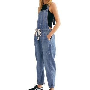 Free People Jackie paint splatter overalls NWOT